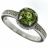 1.02ctw Peridot and Diamond Ring in Sterling Silver