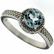 1.02ctw Sky Topaz and Diamond Ring in Sterling Silver