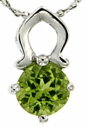 """1.03ctw Peridot Pendant in Sterling Silver with 18"""" Chain"""