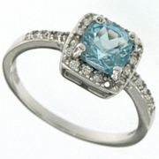 1.03ctw Sky Topaz and White Sapphire Ring in Sterling Silver