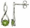 1.06ctw Peridot Earrings in Sterling Silver