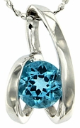 "1.06ctw Swiss Blue Topaz Pendant in Sterling Silver with 18"" Chain"