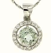 "1.08ctw Green Amethyst Pendant in Sterling Silver with 18"" Chain"