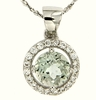 """1.08ctw Green Amethyst Pendant in Sterling Silver with 18"""" Chain"""