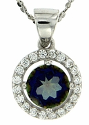 "1.08ctw Mystic Blueish Pendant in Sterling Silver with 18"" Chain"