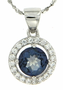 "1.08ctw Mystic Iolite Blue Pendant in Sterling Silver with 18"" Chain"