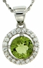 "1.08ctw Peridot Pendant in Sterling Silver with 18"" Chain"