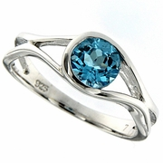 1.09ctw Swiss Blue Topaz Ring in Sterling Silver