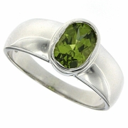 1.13ctw Peridot Ring in Sterling Silver