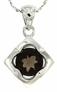 "1.13ctw Smokey Quartz Pendant in Sterling Silver with 18""Chain"