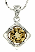 "1.19ctw Citrine Pendant in Sterling Silver with 18"" Chain"