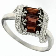 1.19ctw Garnet and Diamond Ring in Sterling Silver