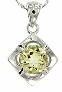"1.23ctw Lemon Quartz Pendant in Sterling Silver with 18""Chain"
