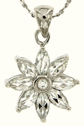 "1.23ctw White Topaz Pendant in Sterling Silver with 18""Chain"