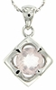 "1.24ctw Rose Quartz Pendant in Sterling Silver with 18""Chain"