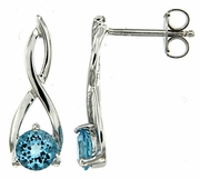 1.24ctw Swiss Blue Topaz Earrings in Sterling Silver