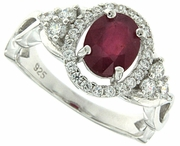 1.25ctw Glass Filled Ruby Ring in Sterling Silver