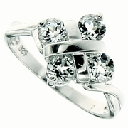 1.25ctw White Topaz and Diamond Ring in Sterling Silver