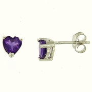 1.30ctw Amethyst Stud Earrings in Sterling Silver