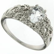 1.30ctw Aquamarine Ring in Sterling Silver