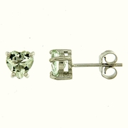 1.30ctw Green Amethyst Stud Earrings in Sterling Silver