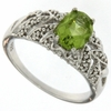 1.31ctw Peridot and Diamond Ring in Sterling Silver