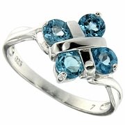 1.33ctw Swiss Blue Topaz Ring in Sterling Silver