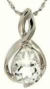 "1.34ctw White Topaz Pendant in Sterling Silver with 18""Chain"