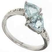 1.35ctw Aquamarine and Diamond Ring in Sterling Silver