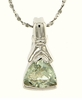 """1.35ctw Green Amethyst Pendant in Sterling Silver with 18"""" Chain"""