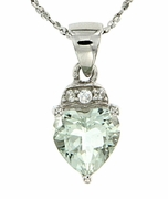 "1.40ctw Green Amethyst Pendant in Sterling Silver with 18"" Chain"