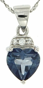"1.40ctw Mystic Iolite Blue Pendant in Sterling Silver with 18"" Chain"