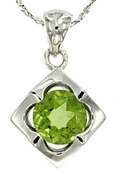 """1.40ctw Peridot Pendant in Sterling Silver with 18"""" Chain"""