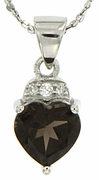 "1.40ctw Smokey Quartz Pendant in Sterling Silver with 18"" Chain"