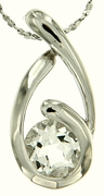 "1.45ctw White Topaz Pendant in Sterling Silver with 18""Chain"