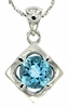 "1.49ctw Swiss Blue Topaz Pendant in Sterling Silver with 18"" Chain"