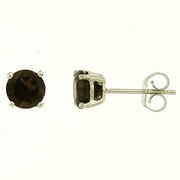 1.50ctw Smokey Quartz Stud Earrings in Sterling Silver