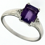 1.51ctw Amethyst and Diamond Ring in Sterling Silver