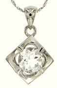 """1.51ctw White Topaz Pendant in Sterling Silver with 18""""Chain"""