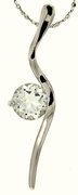 "1.53ctw White Topaz Pendant in Sterling Silver with 18""Chain"