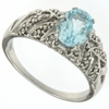1.61ctw Blue Topaz and Diamond Ring in Sterling Silver