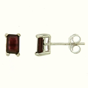 1.60ctw Garnet Stud Earrings in Sterling SIlver