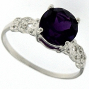 1.68ctw Amethyst and Diamond Ring in Sterling Silver