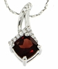 "1.75ctw Garnet Pendant in Sterling Silver with 18"" Chain"