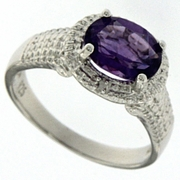 1.76ctw Amethyst and Diamond Ring in Sterling Silver