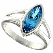 1.76ctw Swiss Blue Topaz Ring in Sterling Silver
