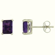 1.80ctw Amethyst Stud Earrings in Sterling Silver