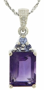 2.90ctw Amethyst and Tanzanite Pendant in Sterling Silver