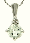 "1.83ctw Green Amethyst Pendant in Sterling Silver with 18"" Chain"