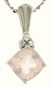 "1.83ctw Rose Quartz Pendant in Sterling Silver with 18"" Chain"